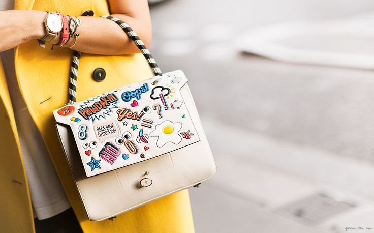 Anya Hindmarch sticker satchel/Garance Doré