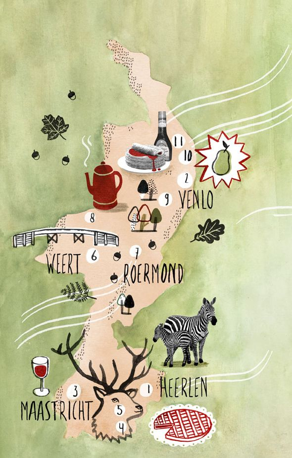 Limburg illustrated map by Valesca van Waveren