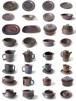 Vintage Ruska pottery by Arabia of Finland.  I have this entire set.  My mom bought it in 1971.