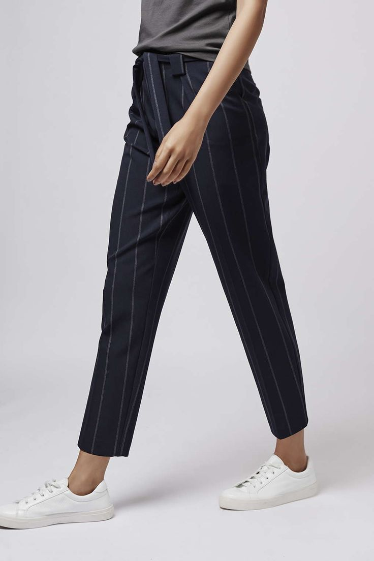 Pinstripe Paperbag Trousers - Pants & Leggings - Clothing