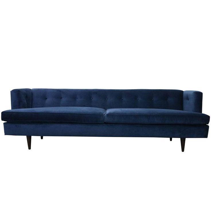 Mid-Century Modern Edward Wormley for Dunbar Tuxedo Sofa in Navy Blue Velvet