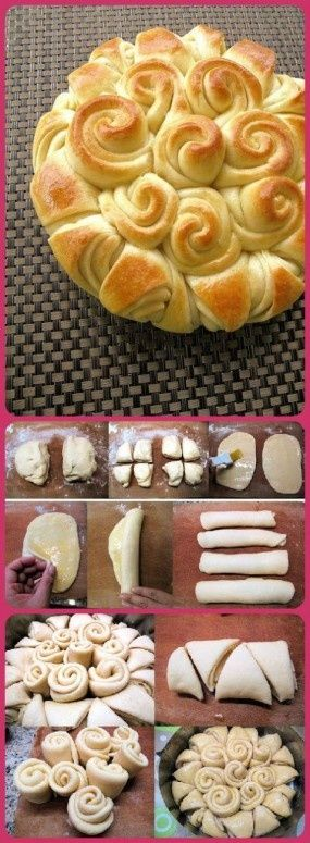 The most impressive way to bring rolls to a family gathering. I used a family butter roll recipe, filled the rolls with homemade pestos and used the tutorial in this picture. Surprisingly EASY and so fantastic!.