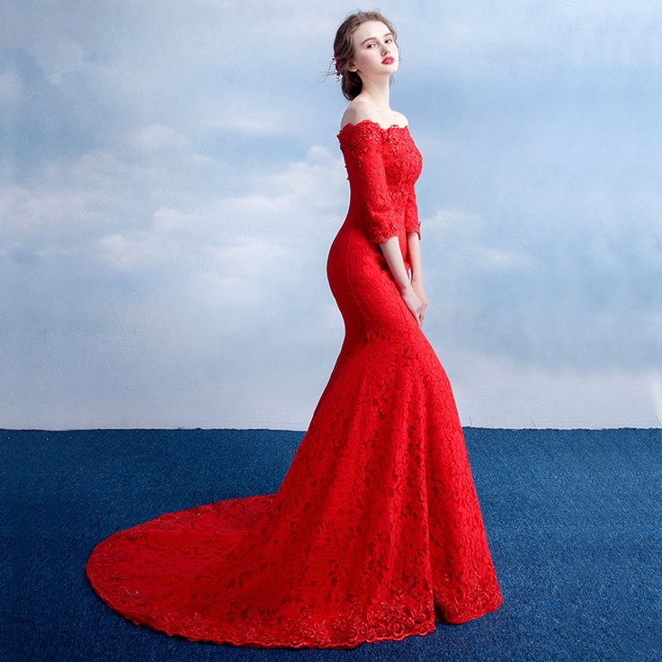 2017 New Luxury Red Lace Fishtail Evening Dress Sexy Slim Boat Neck  Half Sleeve Long Mermaid Bride Marrige Party Prom Dresses