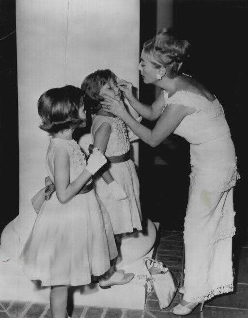 "The Twins visiting Joan Crawford on the set of ""Hush, Hush Sweet Charlotte"" (1964)"