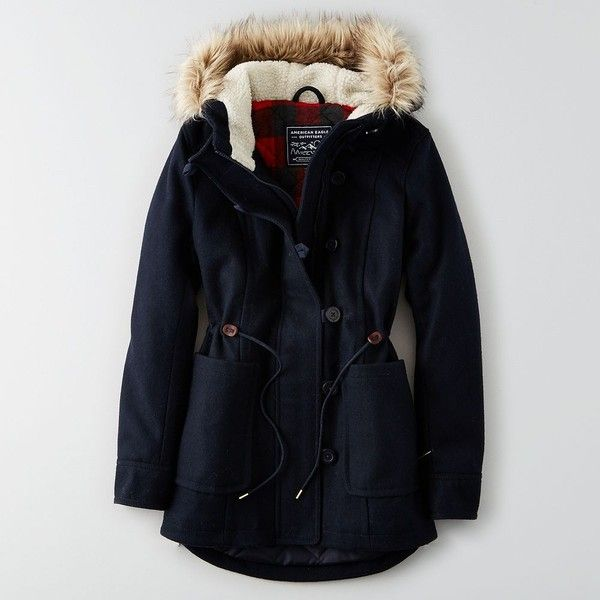 AEO Wool Parka ($150) ❤ liked on Polyvore featuring outerwear, coats, navy blue, wool parka, blue parka, american eagle outfitters coats, blue coat and blue wool coat
