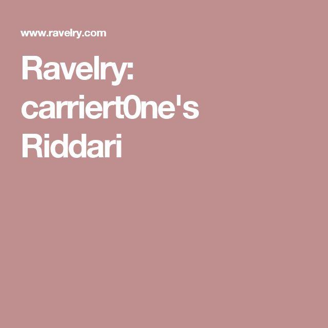 Ravelry: carriert0ne's Riddari