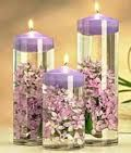 first communion center pieces, candle in vase