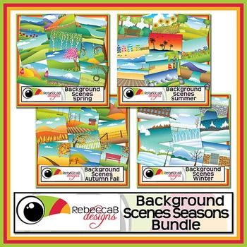 Background Scenes Seasons Bundle contains Background Scenes Spring, Summer, Autumn Fall and Winter.  There are 40 colored and 40 black and white background scenes for your products. Simply place your text and clip art over the background scene. Create product covers, posters, dioramas, worksheets, activities and other teaching resources.