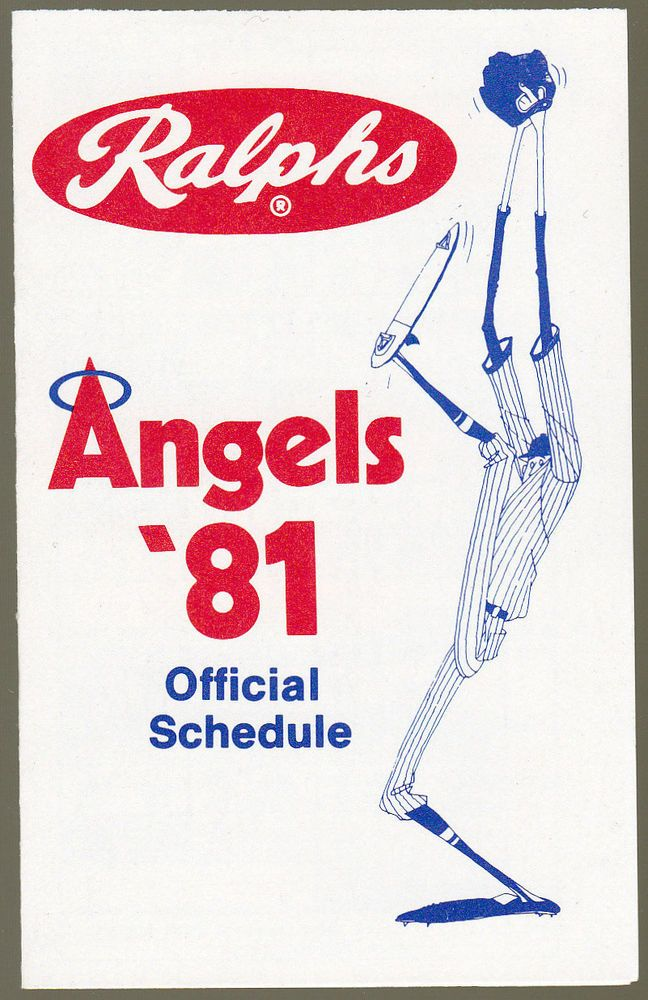 1981 CALIFORNIA ANGELS RALPHS MARKETS BASEBALL POCKET SCHEDULE FREE SHIPPING #Schedule