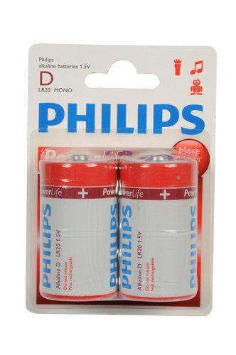 2-Pack Philips Power Alkaline Batterijen (D LR20-Mono 1.5V)