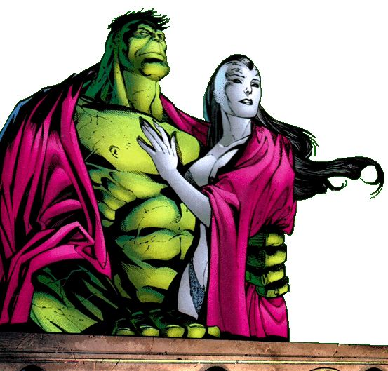 planet hulk caiera | Hulk and Caiera stand together out on the balcony looking down at the ...