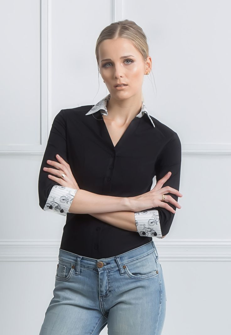Martina - V Neck fitted dress shirt women 3/4 sleeves