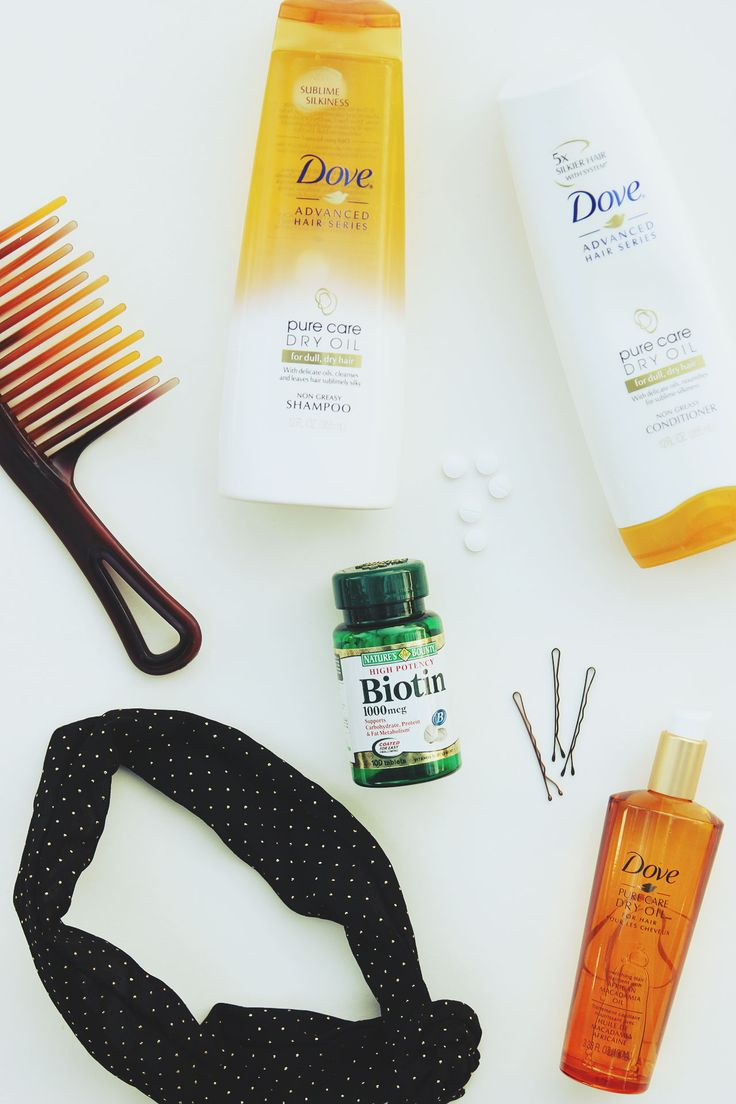 Dove Pure Care Dry Oil hair products and Biotin for healthy postpartum hair via @pjfeinstein. #SilkyHairDare