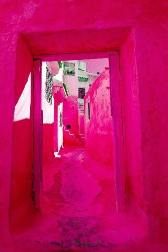 This amazing color! Where is this? It's like the blue town of Chaoen, Morocco, but pink!