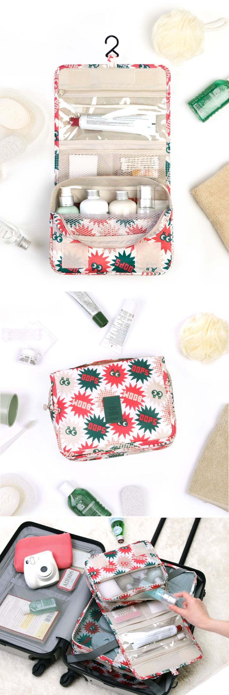 This pouch packs a punch! It fits easily into your luggage & unfolds into an awesome hanging toiletry organizer! With 9 useful pockets, this is your one-stop pouch to keep your essentials together. Keep wet products such as your toothbrush & toothpaste in the PVC pocket & small items like cotton swabs in the mesh pockets. The main compartment can fit large toiletries or cosmetics. Pack & travel stress-free with this cute pouch! It also makes a great organizer for makeup, baby, or craft…