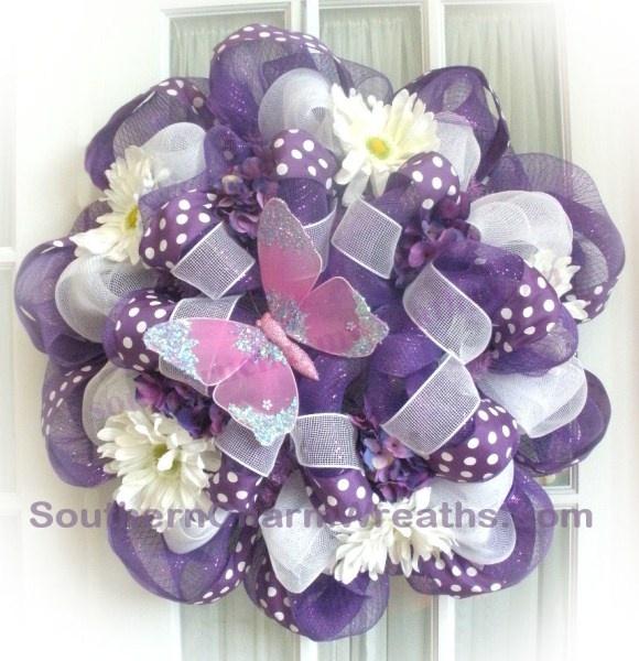 XL Deco Mesh Purple Polka Dot Butterfly Wreath