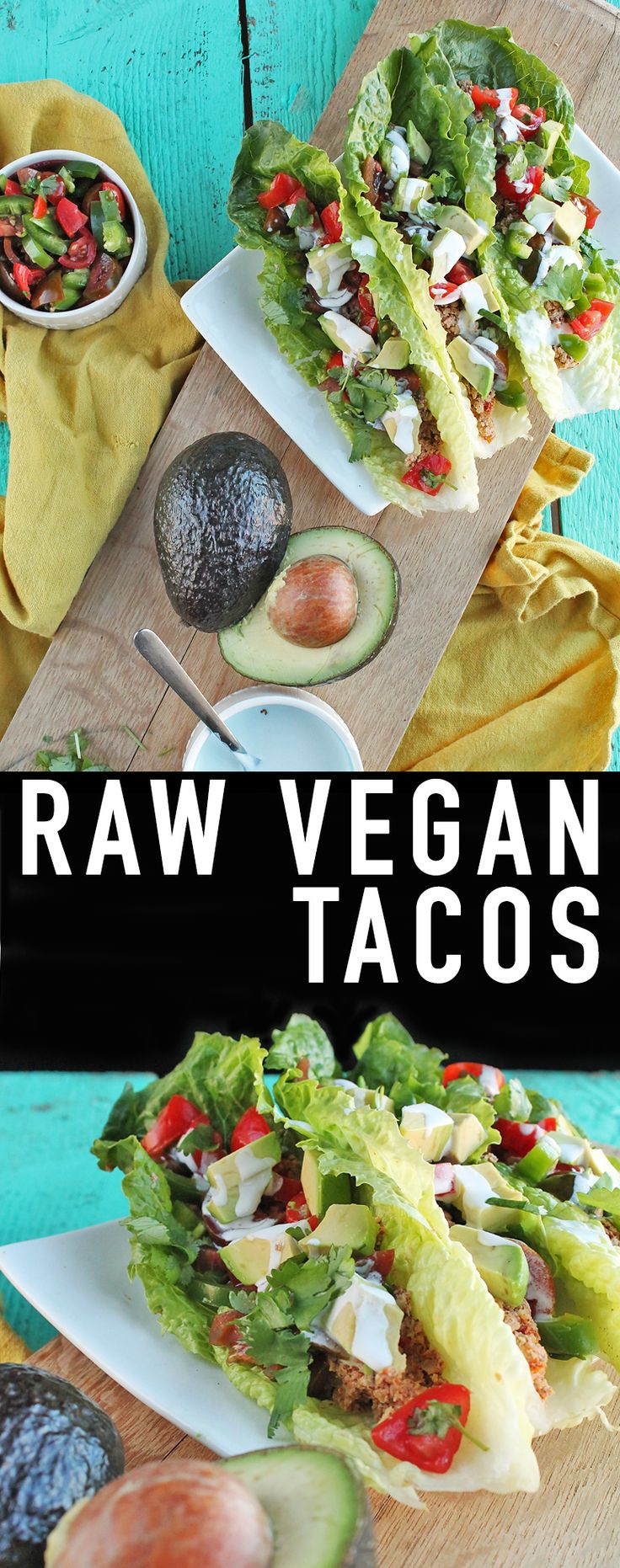 Enjoy a delicious and healthy meal of raw vegan tacos with walnut taco meat, fresh pico de gallo, and homemade cashew cream. Click the photo for the full recipe.