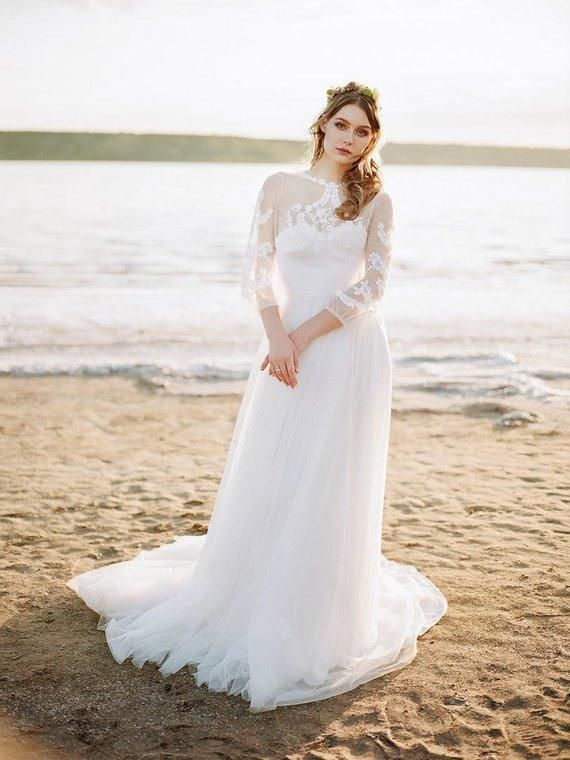 See Through Long Sleeve Beach Wedding Dresses Cheap Tulle Bridal
