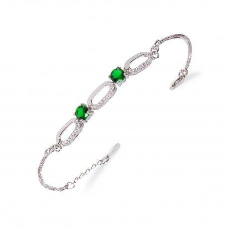 Stříbrný náramek se smaragdy a třemi oválky