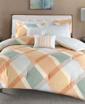 Madison Park Drew 7-Pc. Cotton Flannel Reversible King/California King Duvet Cover Set - Orange