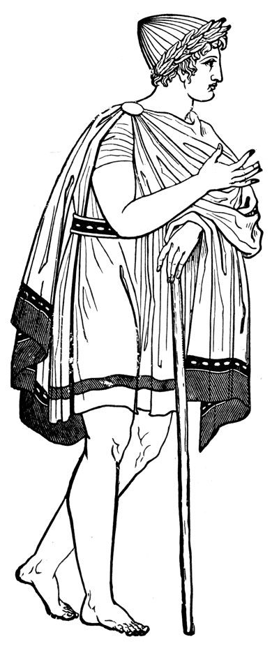 Ancient Greek Costume- This drawing shows a man wearing a chiton with a chlamys , or cloak over it. He also has a hat, the petasos, on which is also commonly worn with chlamys.