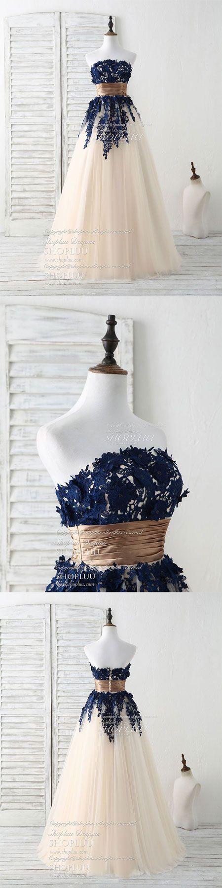 Dark blue lace applique tulle long prom dress blue bridesmaid dress, blue wedding party dress