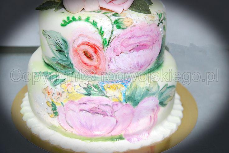 hand painted cake, ręcznie malowany tort, www.rogwojskiego.pl