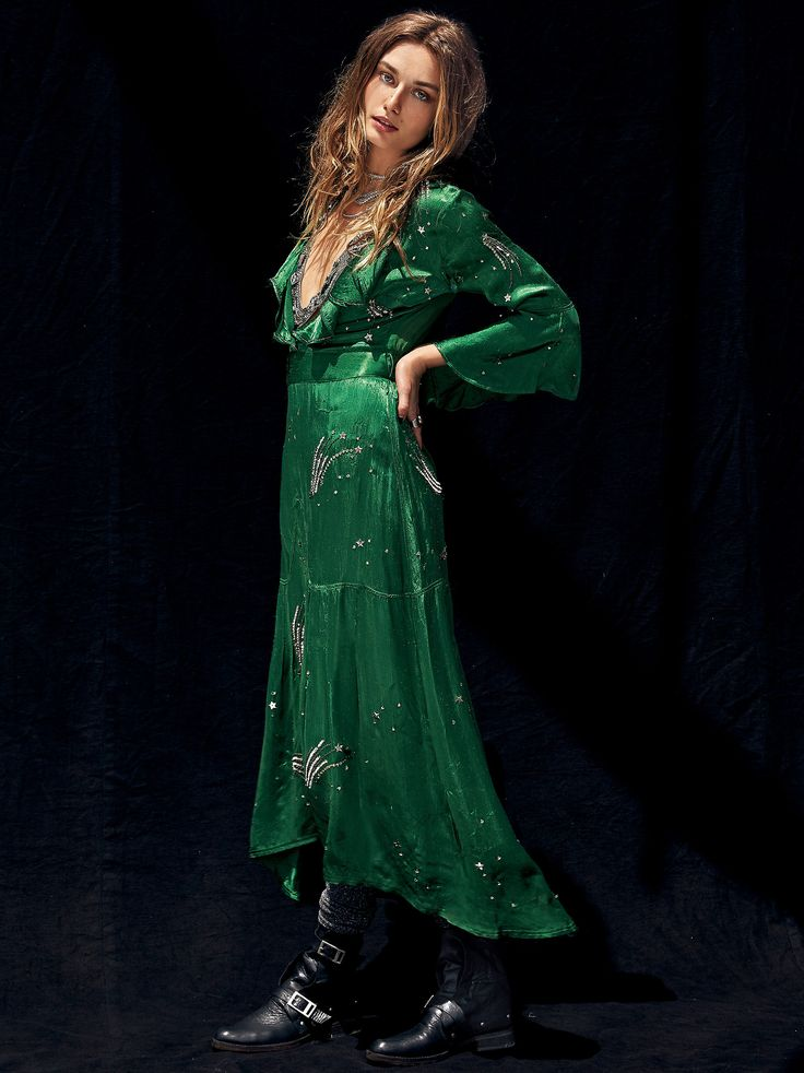 Starlet Maxi Dress | Silky maxi dress featuring a dramatic plunging neckline with ruffle trim and allover bead and sequin embellishments. Statement three-quarter length sleeves with a flared cuff. Sheer chiffon back with an exposed zip closure. Elastic waistband in back and adjustable tie for an easy and effortless fit.