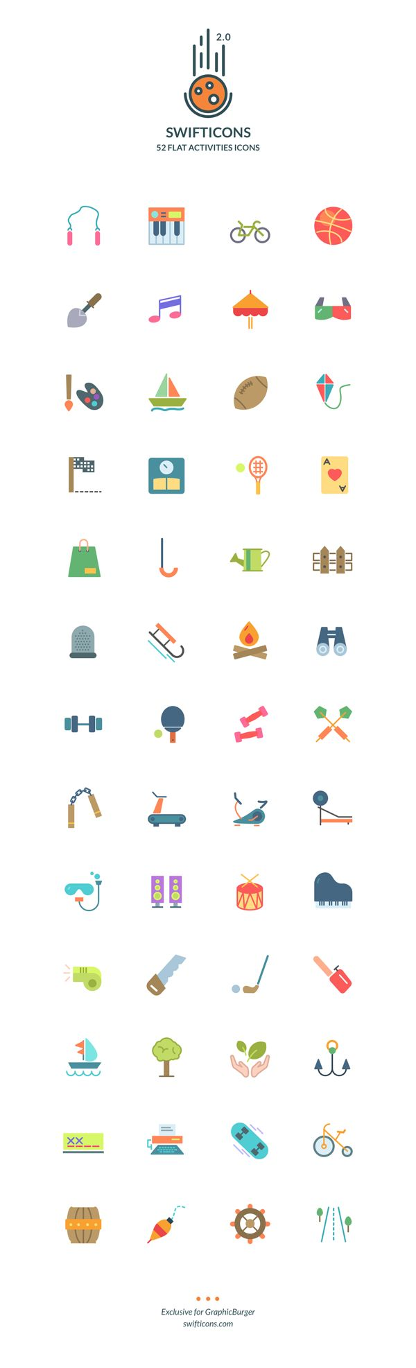 Friends! Have a fun day with this Set Of 52 Colorful Flat Icons – Swifticons. They're inspired by a wide range of fun activities and available in multiple formats. Feel FREE to download and use in your various projects with ease. Don't hesitate to check out and add to your library right now!