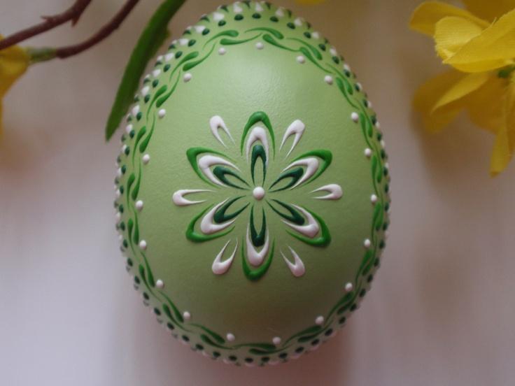 Banty Chicken Pysanka in Green, Easter Egg Pysanka. $14.95, via Etsy.