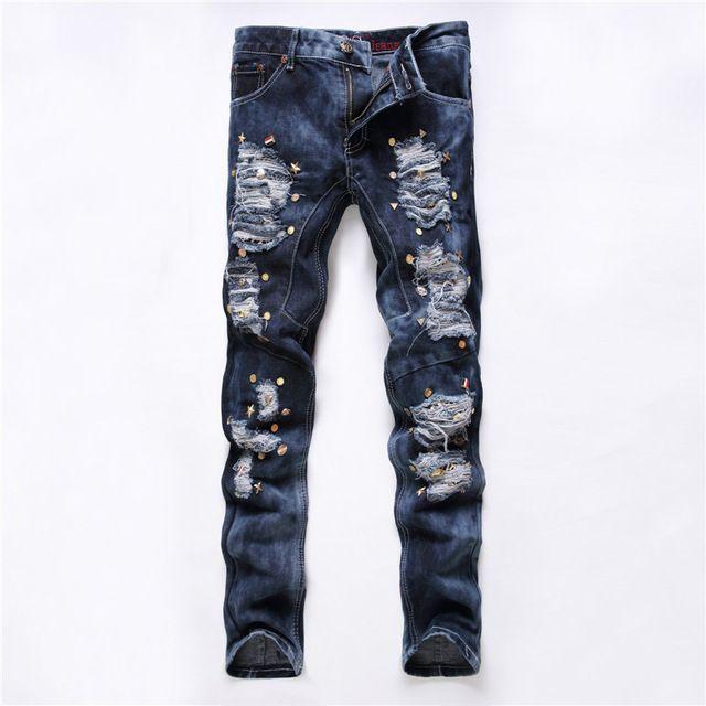 Caliente venta pantalones vaqueros para hombre 2016 nueva rasgado Elatic vaqueros del diseñador moda Biker Jeans hombre Casual ropa Skinny Jeans Slim Fit