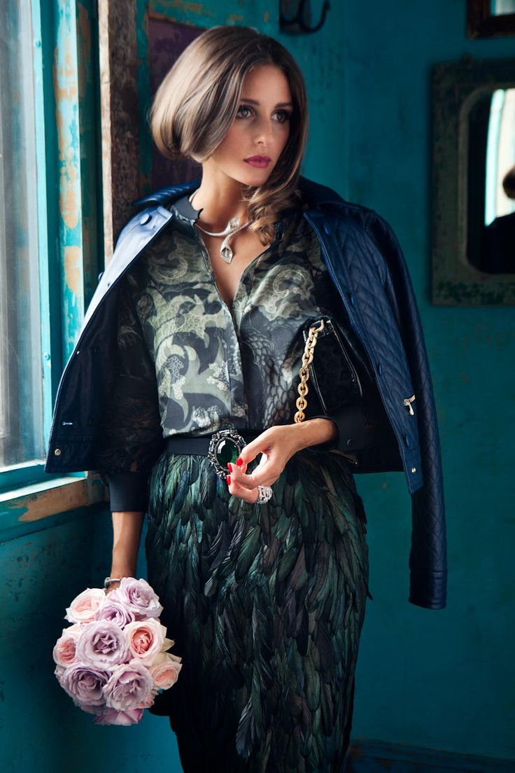Olivia Palermo Graces Velvets September 2012 Issue by Luc Coiffait  -- Feather Pencil Skirt!!!