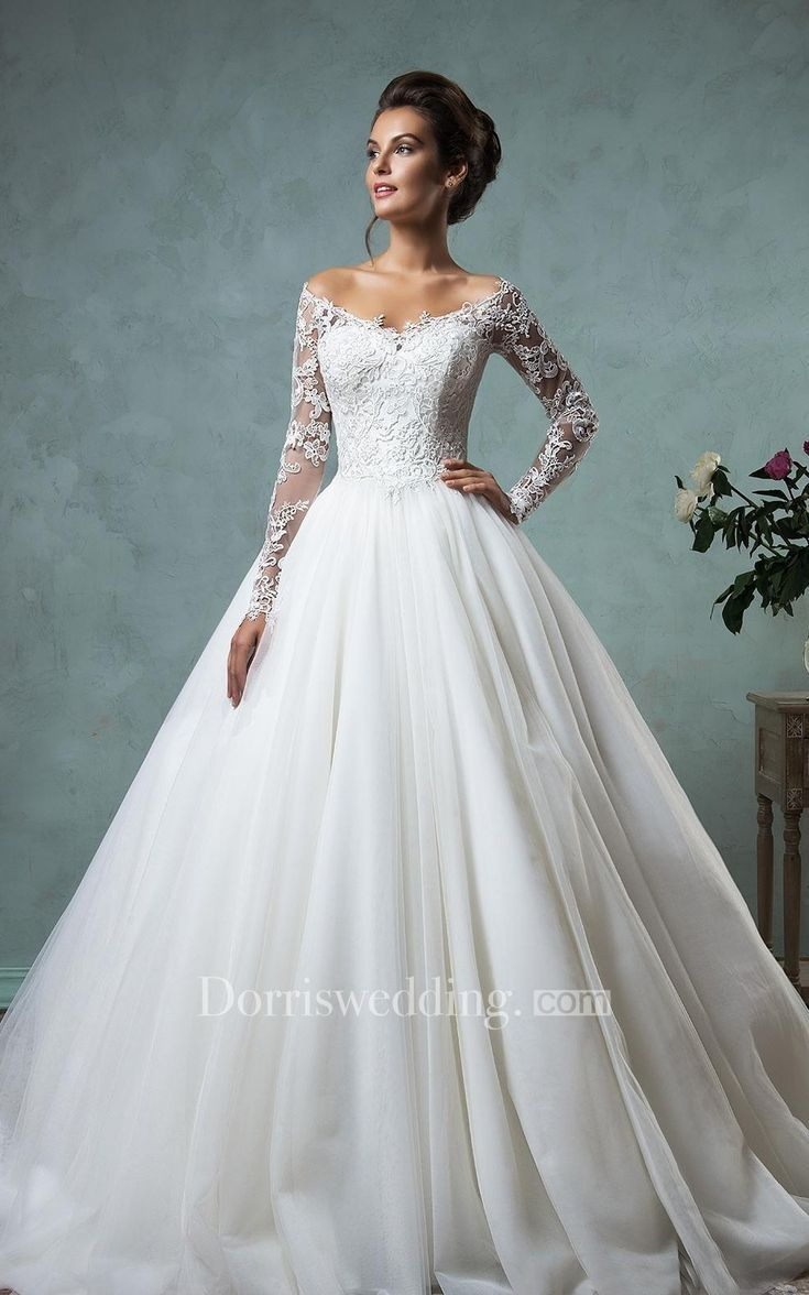 A Line Ball Gown Empire Mini Jewel V Neck Long Sleeve Bell Empire Dropped Appliques Court Train Backless Tulle Lace Dress Lace Wedding Dress Vintage Wedding Dresses Lace Ballgown Ball Gown Wedding Dress