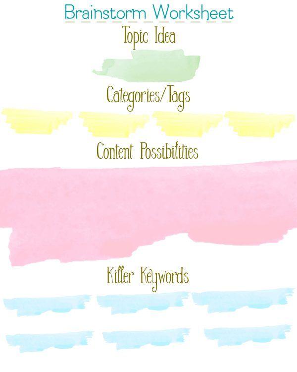 Free printable brainstorm worksheet DIY Crafts – Brainstorm Worksheet