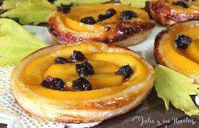 tartitas de hojaldre, mini tartas de hojaldre y fruta, recetas de tartas de hojaldre y frutas melocotón, recetas de melocotón, postres con melocotón, Julia y sus recetas