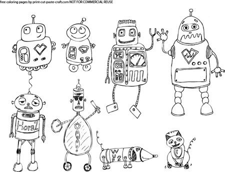 Robots Coloring page I created, find the free printable