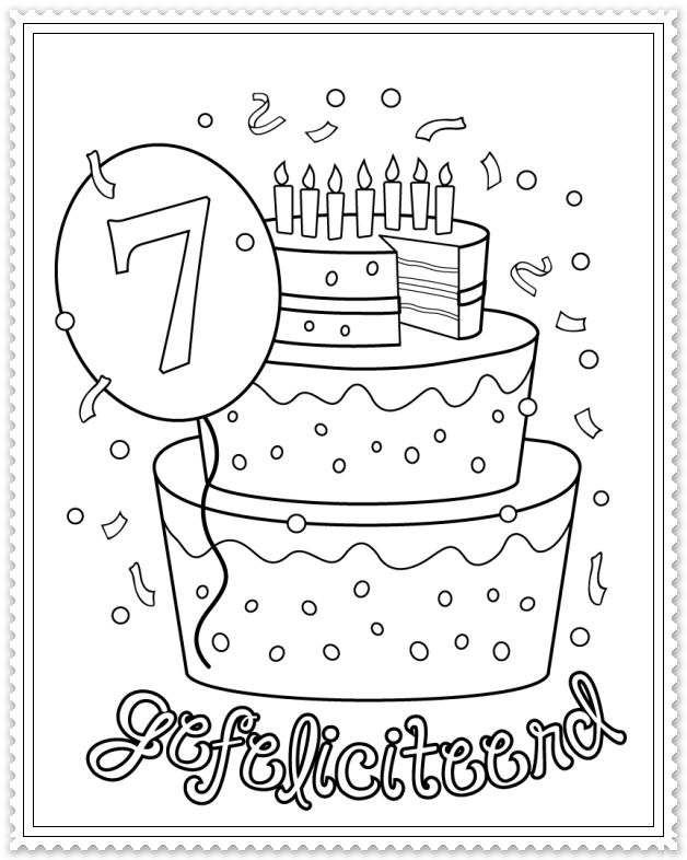 hoera 7 jaar feest kleurplaten wensjes