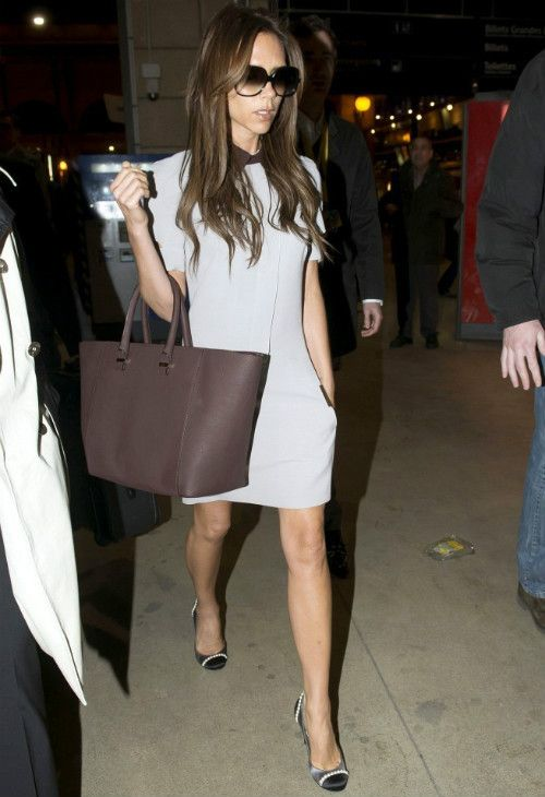 Victoria Beckham wearing Cutler and Gross 0811 Sunglasses, Chanel Two Tone Satin Pumps With Pearl Detail, Victoria Beckham Wool and silk-blend dress, Victoria Beckham Shopper Leather tote,