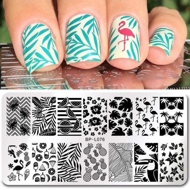 Flamingo Pattern Nail Stamping Template Summer Fruit Leaf Image …