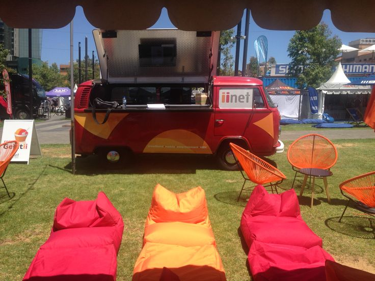 iinet Little Red Bus at the 2015 Tour Down Under Bike Expo