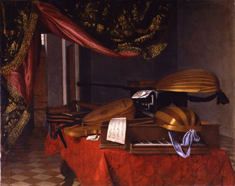 Portland Art Museum, Venice Exhibit Evaristo Baschenis, A Still Life with Musical Instruments in an Interior, Oil on canvas, Private Collection