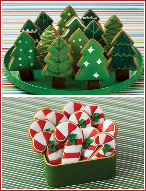 candy cane and christmas tree cookies