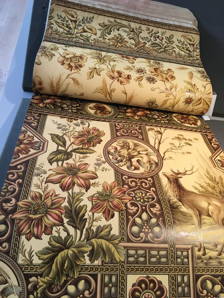 Victorian sanitary wallpaper and border with floral design