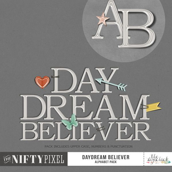 DAYDREAM BELIEVER | Alpha This inverted flair style alpha is large with a bold typeface for creating big titles. You can keep it simple or really dress each letter up with the mix of inverted mini flair elements and attach them with the staples included in the pack. Such a fun alpha to create pretty   DOWNLOAD INCLUDES:  1X Alpha Set  [A-Z] + [0-9] & [Punctuation] Alpha sheets for easy cutting. 5X Inverted Mini Flair Elements including the shadowed versions. 3X Unique Staple Clusters.