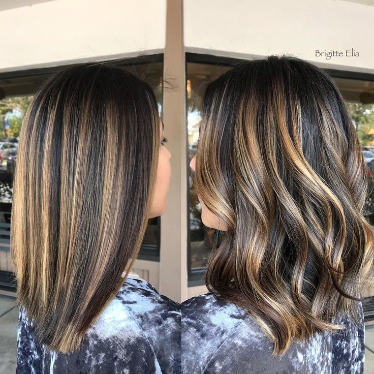 Side by side...straight and waved using the ✨Painted hair✨technique to achieve this caramel color. This was her second session!