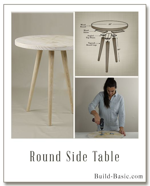 Build a Round Side Table - Building Plans and Instructions by @BuildBasic  www.build-basic.com