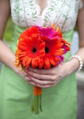 gerbera daisy wedding bouquets with black bridesmaid dresses | gerbera wedding