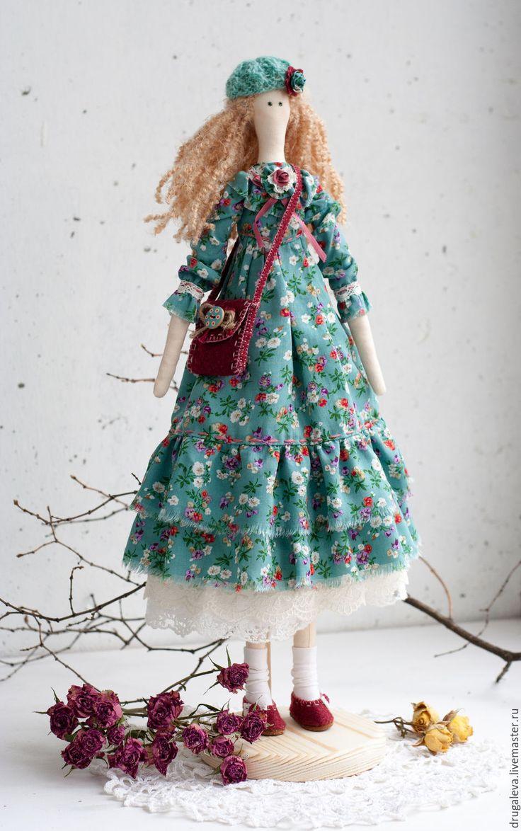 Купить Интерьерная кукла тильда Алиса, текстильная кукла - бирюзовый, тильда, тильда кукла