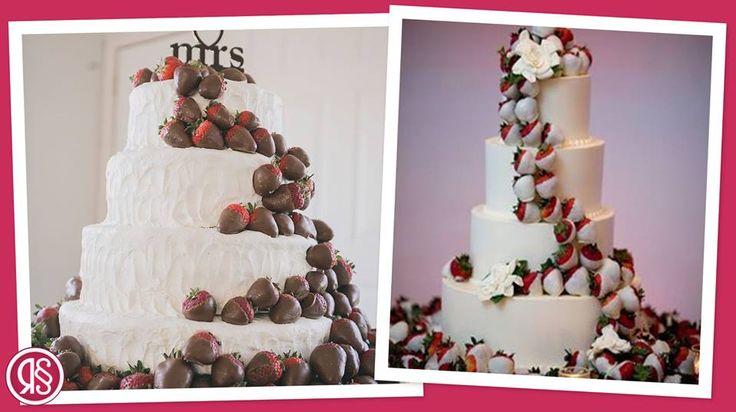 La torta nuziale con una cascata di fragole immerse nel cioccolato. Lo preferisci bianco o fondente?