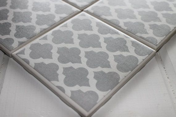 Grey Moroccan Four Piece Ceramic Tile Coaster by NicolesNicNacs, $10.00